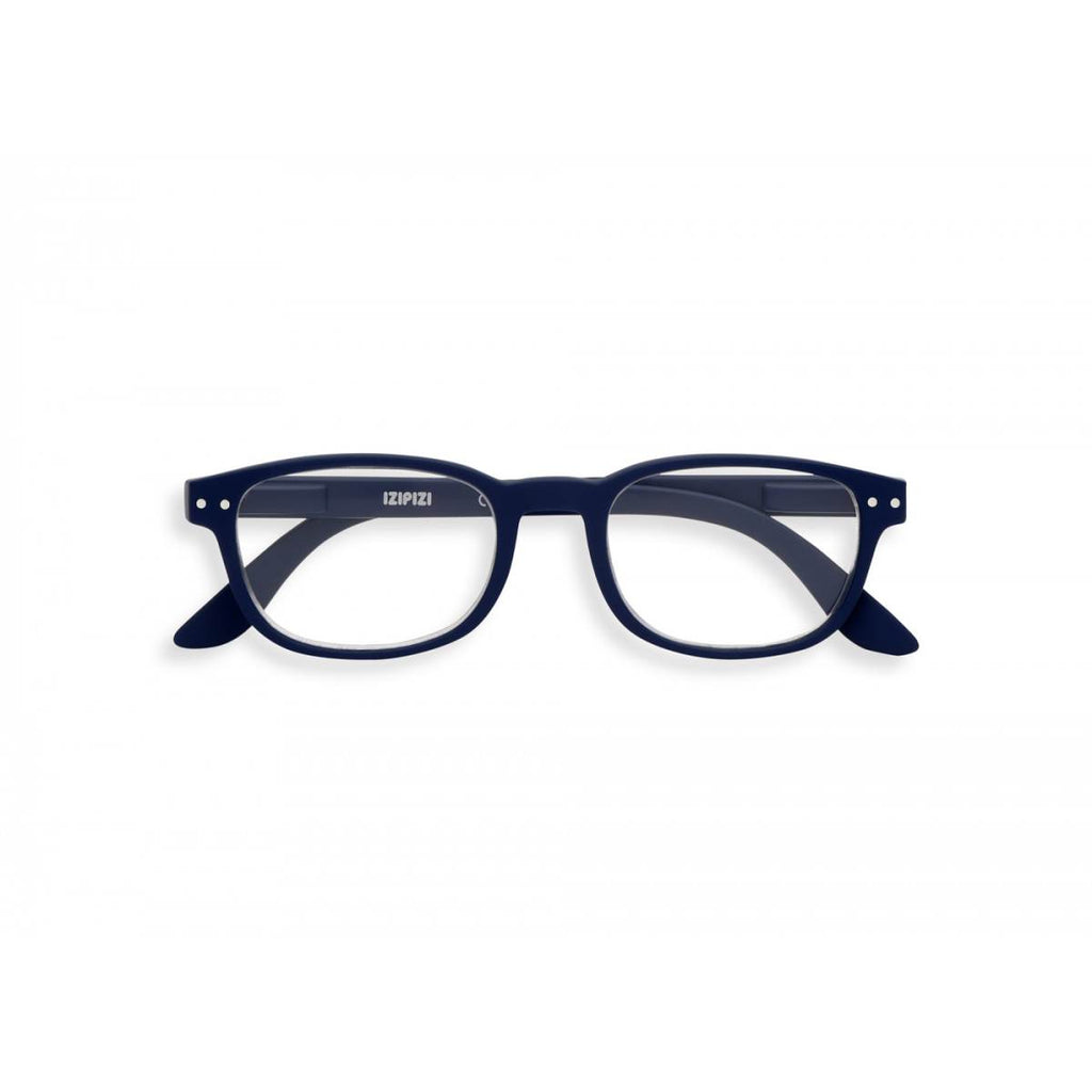 A navy blue pair of magnifying reading glasses. The frames are an elegant, classic, rectangular shape.