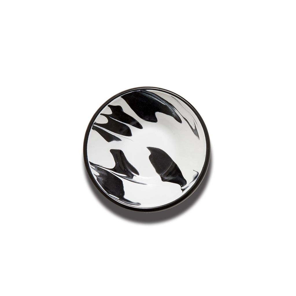 An enamel bowl with beautiful marbled enamel in a range of contrasting tones of black and white.