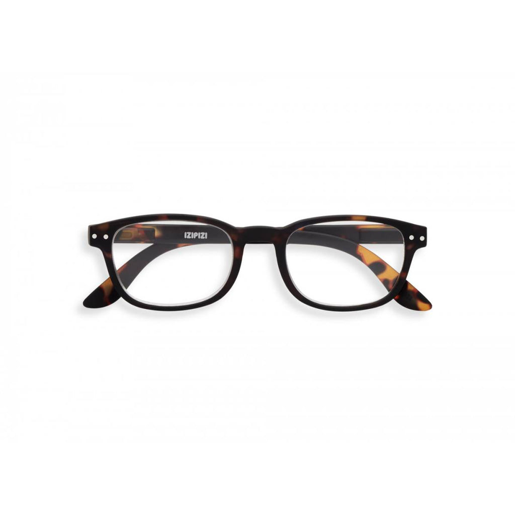 A pair of magnifying reading glasses. The frames are an elegant, classic, rectangular shape in a mottled classic tortoise shell finish.