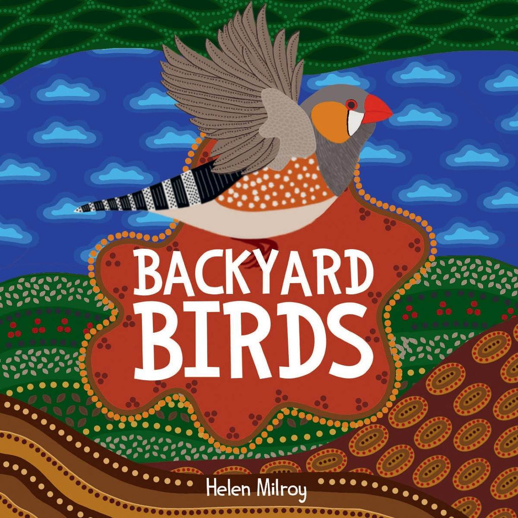 A colourful children's book cover featuring an Aboriginal artwork depicting a bird, surrounded by traditional motifs