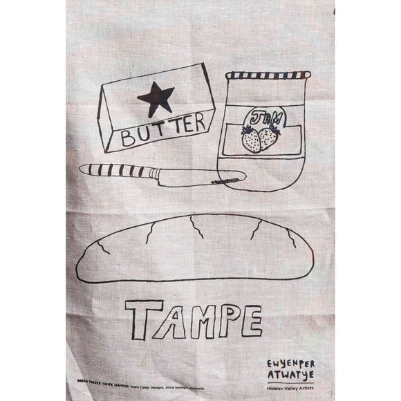 A Natural Linen Tea Towel with a black screenprinted work depicting Damper, Bread, Jam and a knife. The word 'TAMPE' appears in bold.