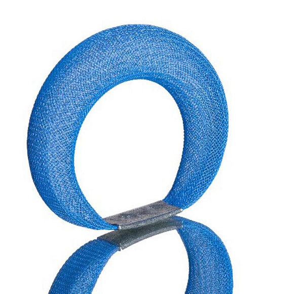 A Blue bracelet made from finely woven nylon mesh