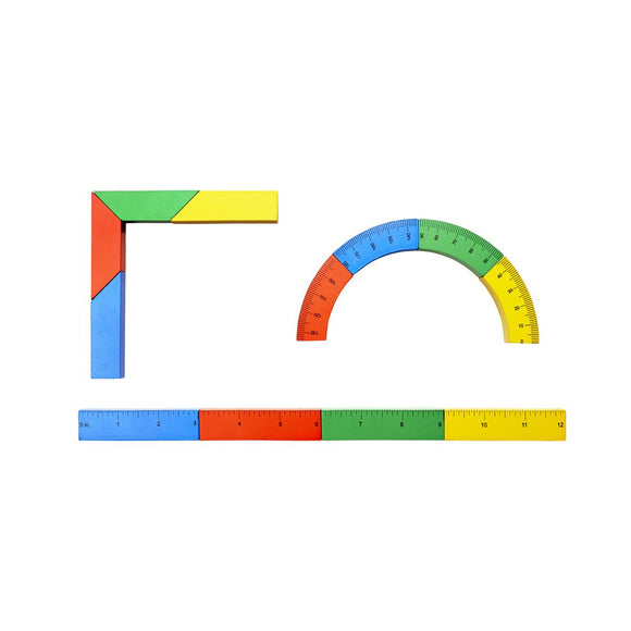 A Set of 12 wooden building blocks in primary colours as well as green and orange. They are magnetic and are shaped and marked to look like an architects rulers and tools