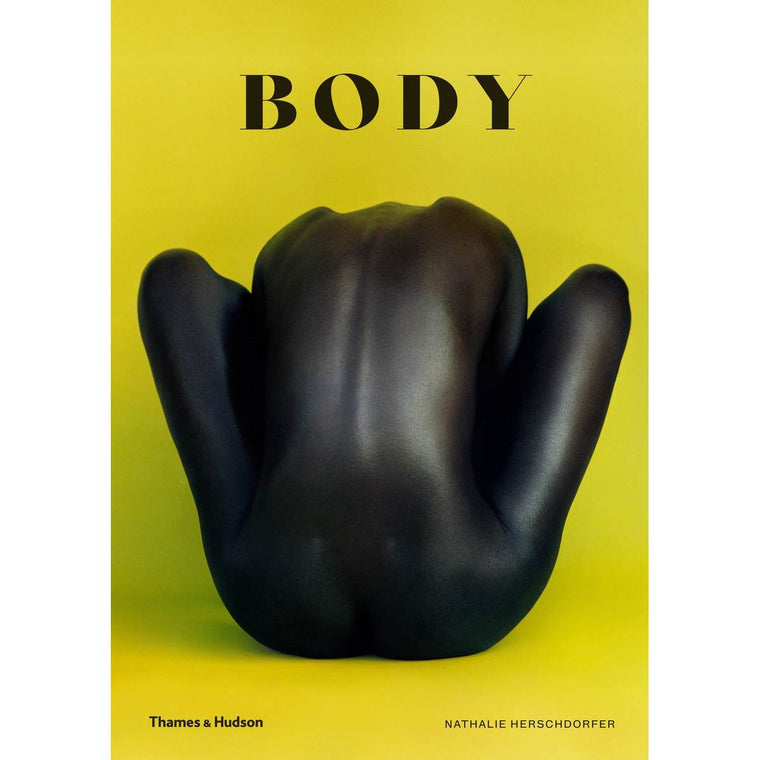 a Book cover featuring a photograph of a nude body from behind silhouetted in front of a Bright yellow background. The figure is darked skined, and posing with crossed legs, the head in bet forward and not visible.