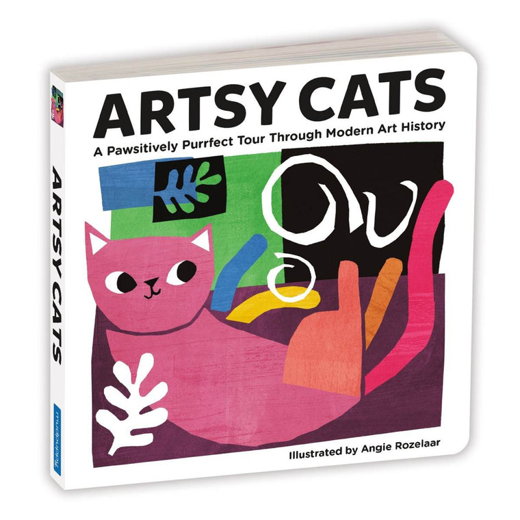 A children's board book with a cover image of a cat collage in the style of Matisse.