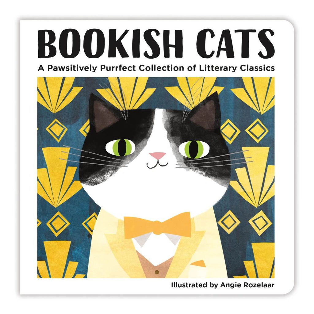 A children's board book featuring the cover illustration of a black and white cat dressed up like a dapper gentleman, with a yellow suit, yellow bowtie and a brown waistcoat.