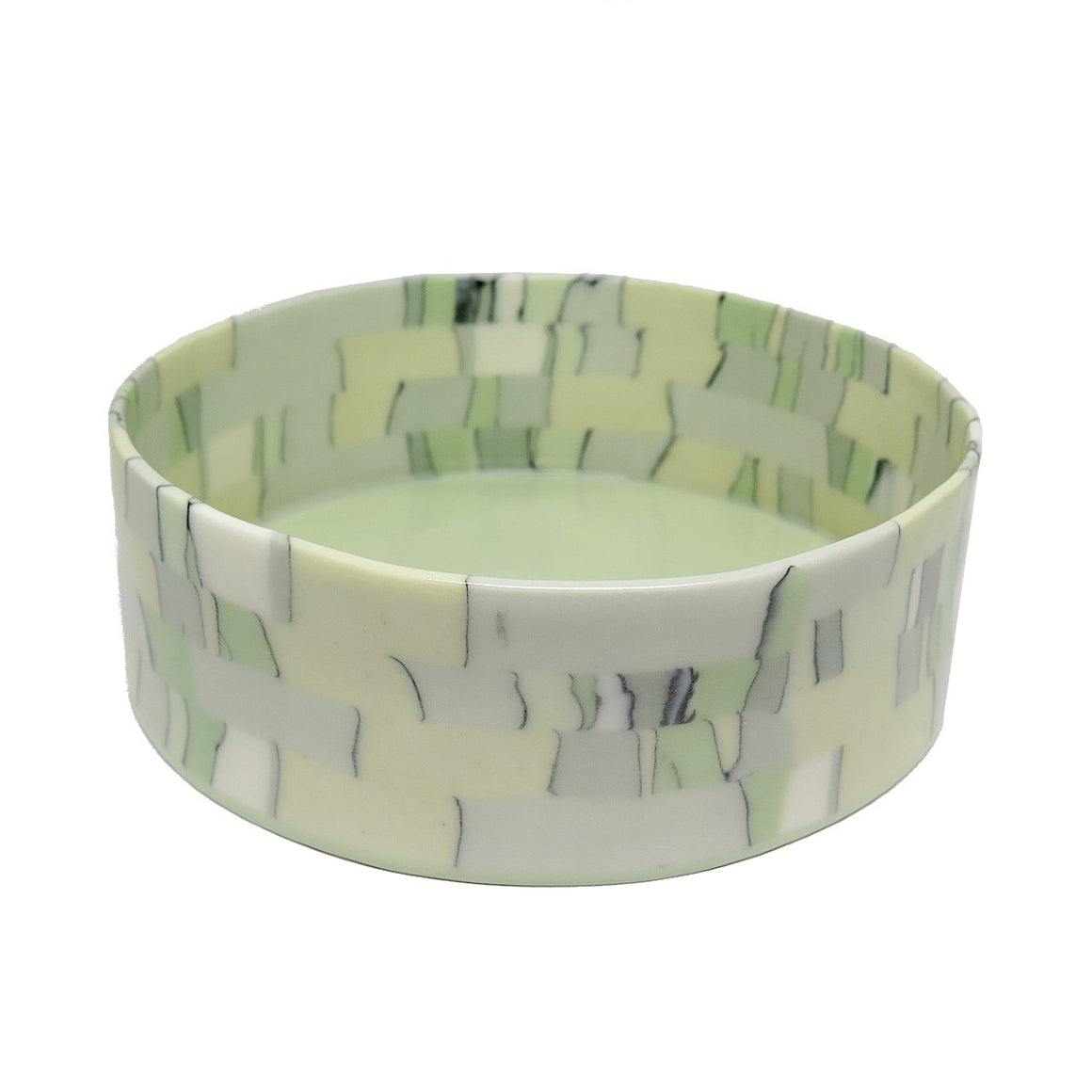 Fruit Bowl | Nerikomi | Made by Anne Mossman | Pastel Green, Yellow, Grey & White