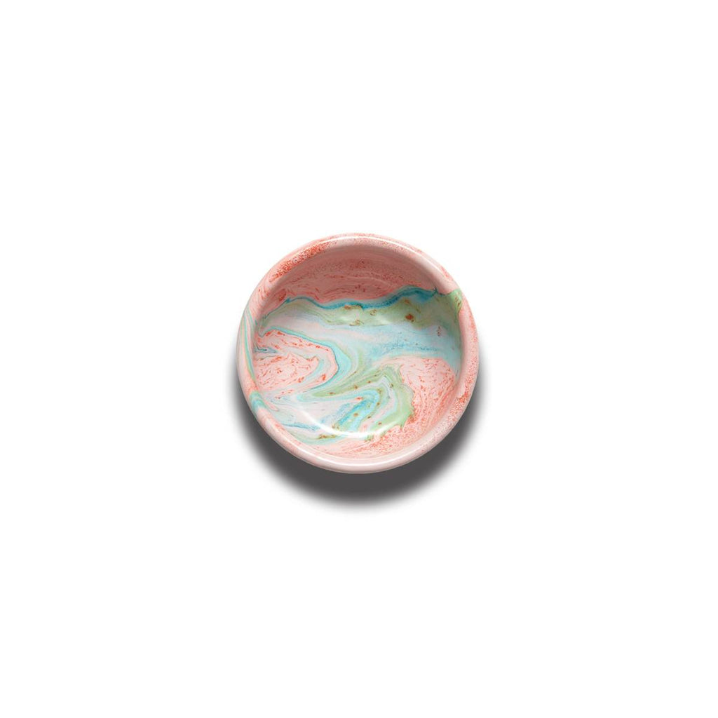 An enamel bowl with beautiful marbled enamel in a range of contrasting tones of Turqouise and Green on a Blush Pink Base.