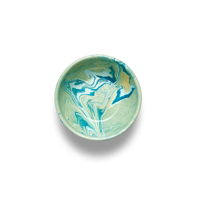 An enamel bowl with beautiful marbled enamel in a range of contrasting tones of Turqouise, Green and light blue on a Mint Green Base.