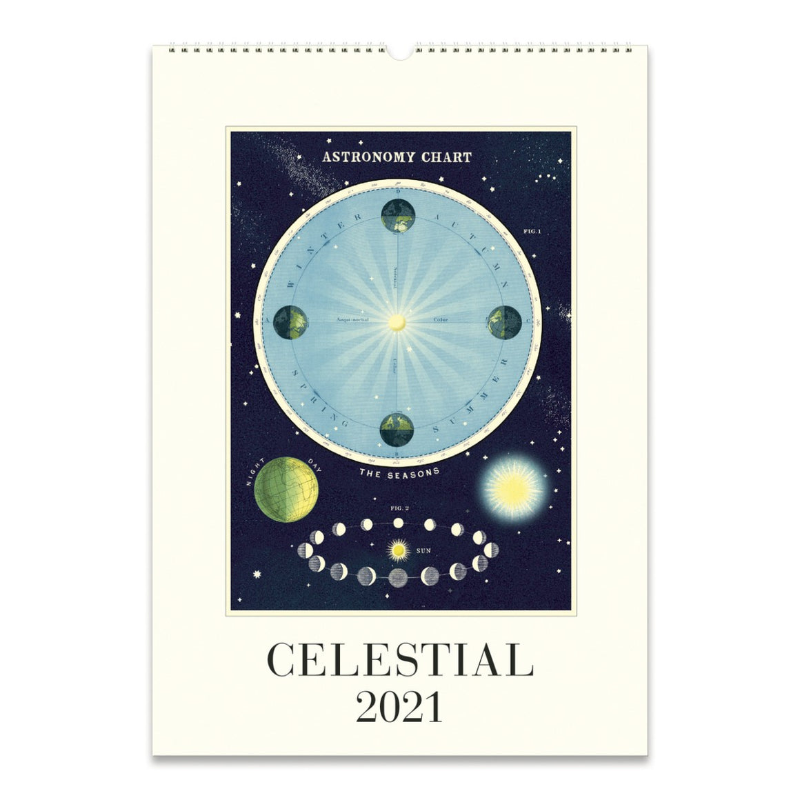 A 2021 Wall calendar featuring a vintage celestial image in bold colours.
