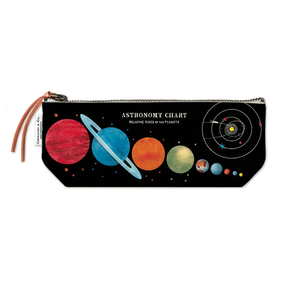A pencil case sized zip pouch made of natural cotton printed with a vintage illustration of an astronomy chart showing relative sizes of the planets