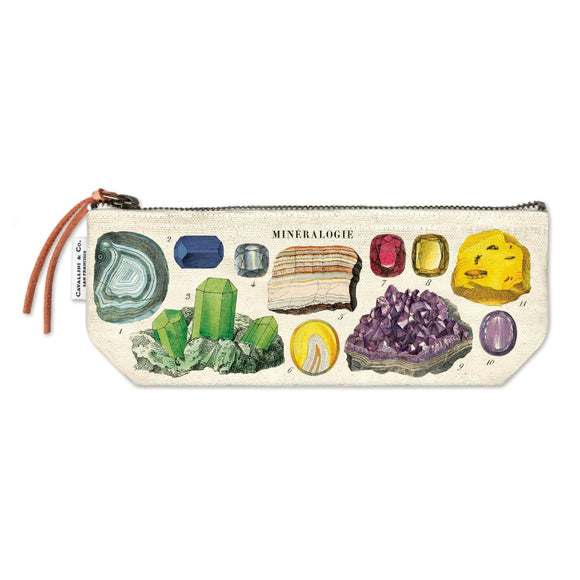 A pencil case sized zip pouch made of natural cotton printed with a vintage illustration of colorful a collection of precious gems and minerals