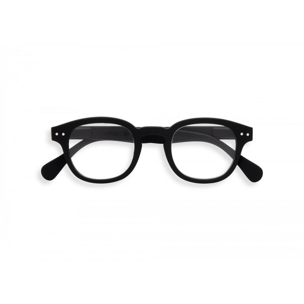 A black pair of magnifying reading glasses. The frames are an stylish, bold, square shape.