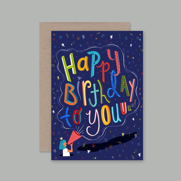 Greeting Card featuring a multi coloured font with the words Happy Birthday to Youuuu