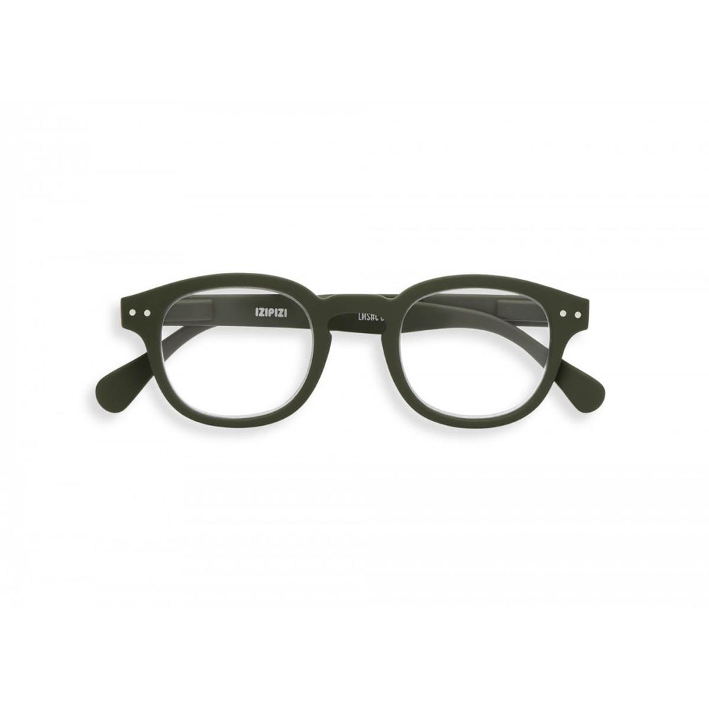 A khaki green pair of magnifying reading glasses. The frames are an stylish, bold, square shape.