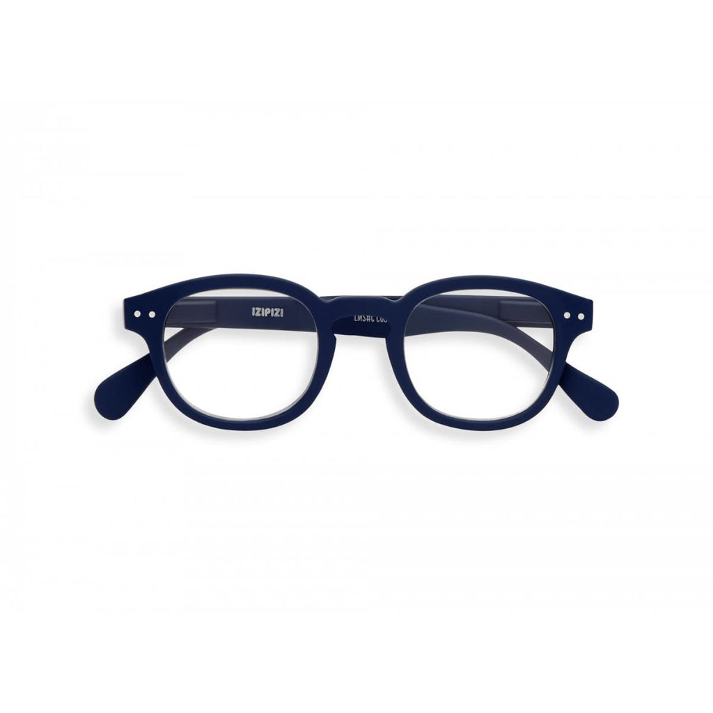 A navy blue pair of magnifying reading glasses. The frames are an stylish, bold, square shape.