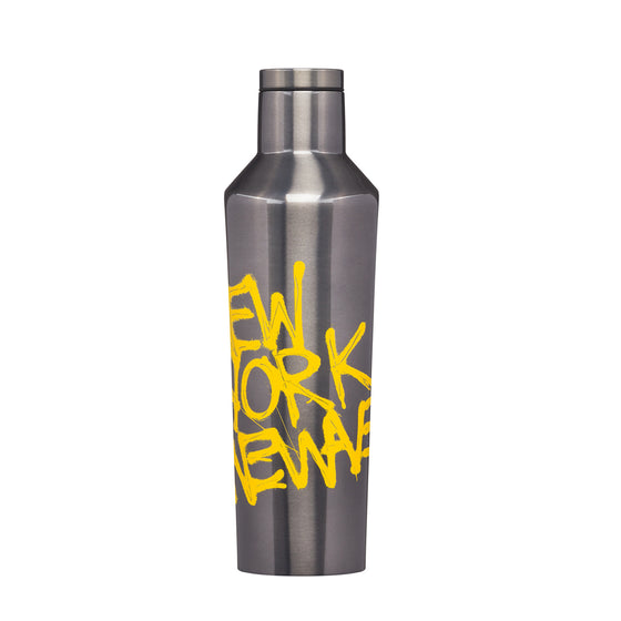 A Stainless Steel Water bottle featuring the work New York by Jean Michel Basquiat