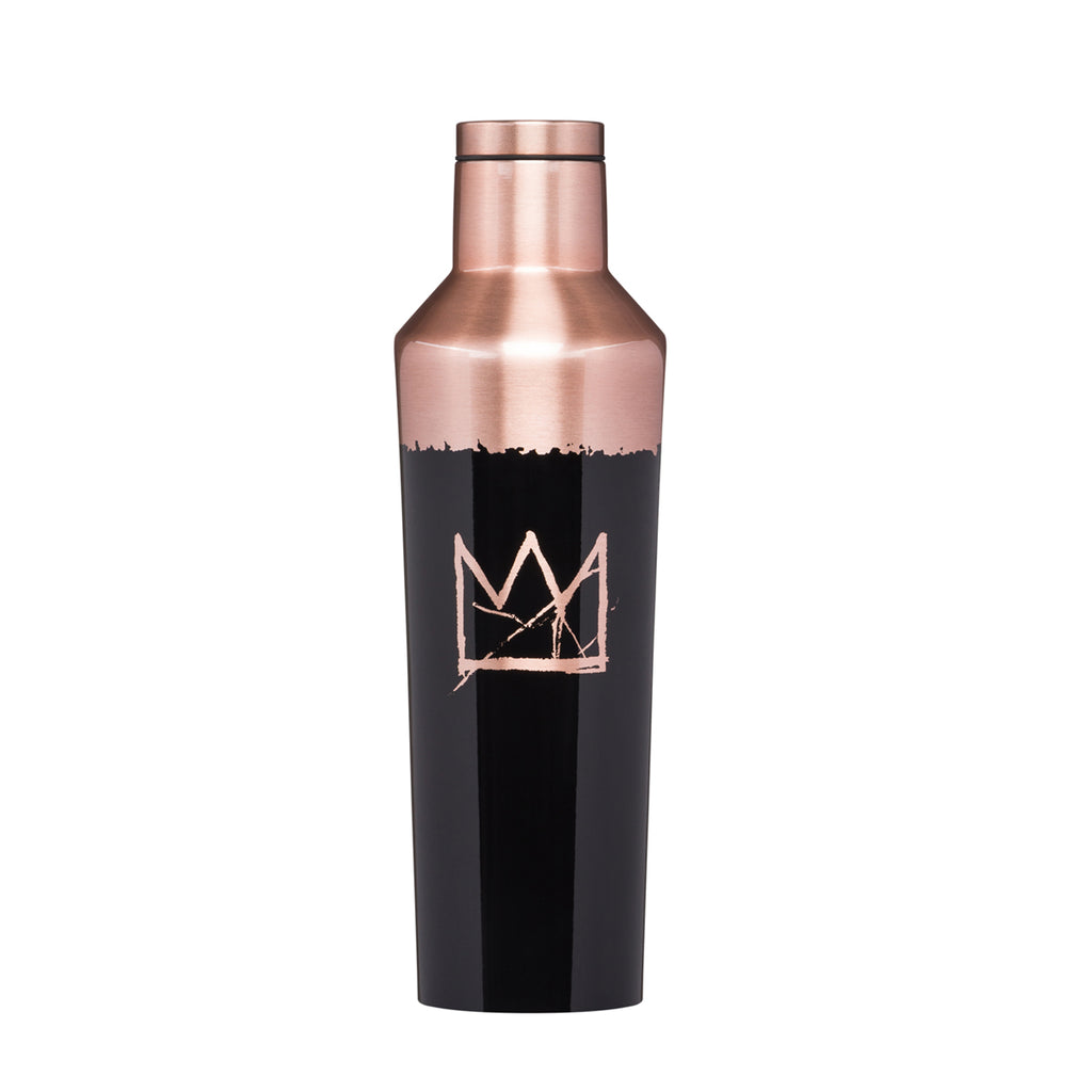 A Stainless Steel Water bottle featuring the work Crown by Jean Michel Basquiat