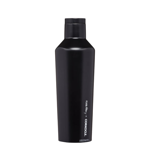 A Flask style water bottle featuring the graphic work of Keith Harig in bold and contrasting black and white.