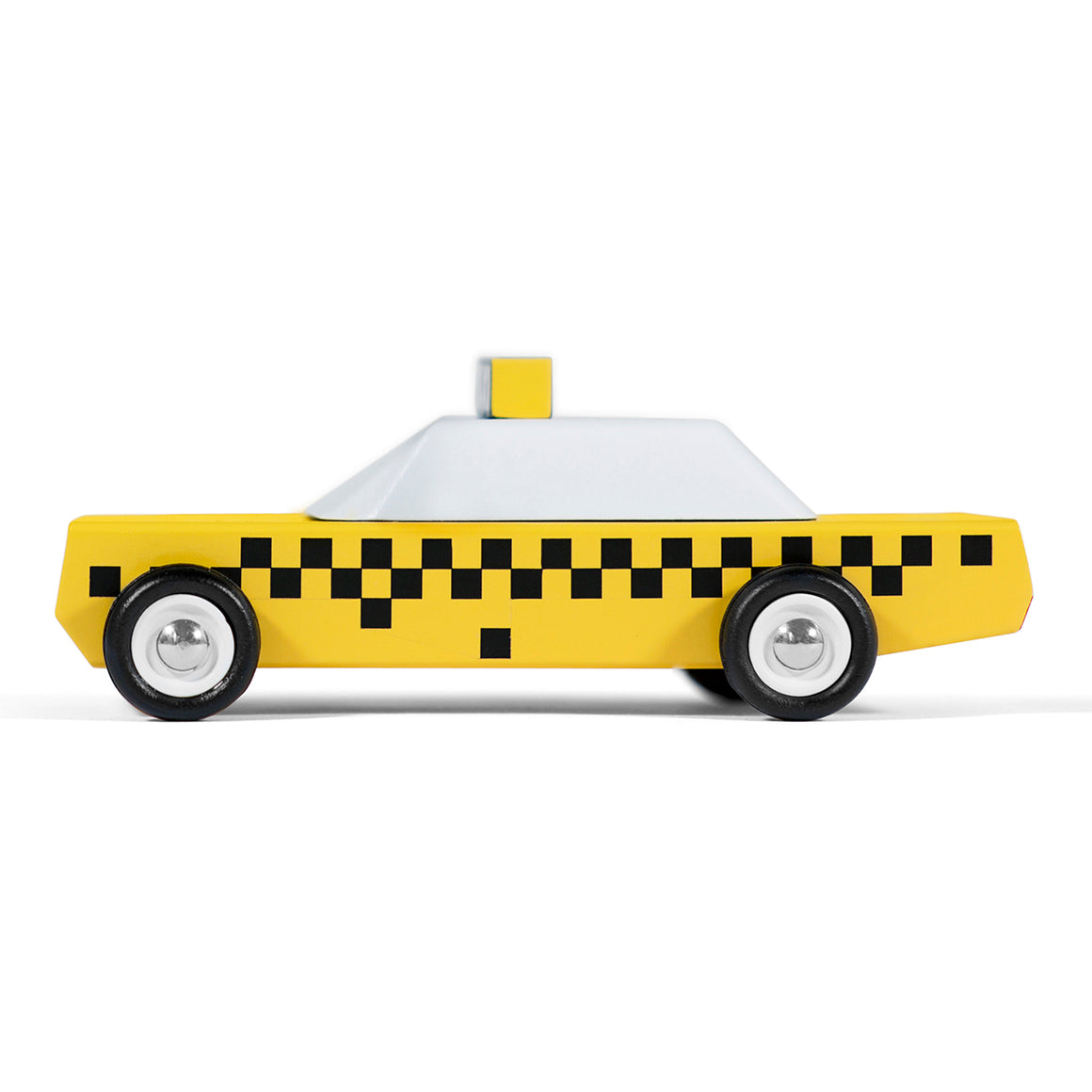 A Toy car in the style of an American taxi cab in yellow white and black.