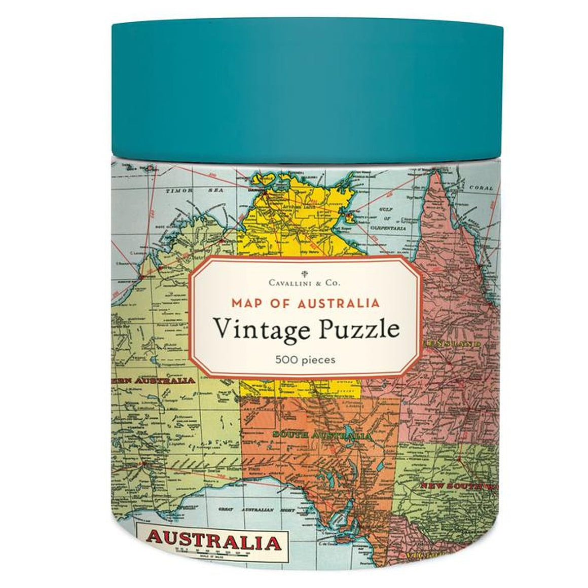 A colourful cylindrical Puzzle box, featuring a collage of iconic vintage Map of Australia.