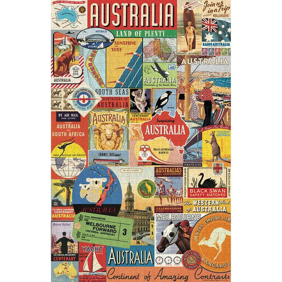 A colourful cylindrical Puzzle box, featuring a collage of iconic vintage Australian imagery.