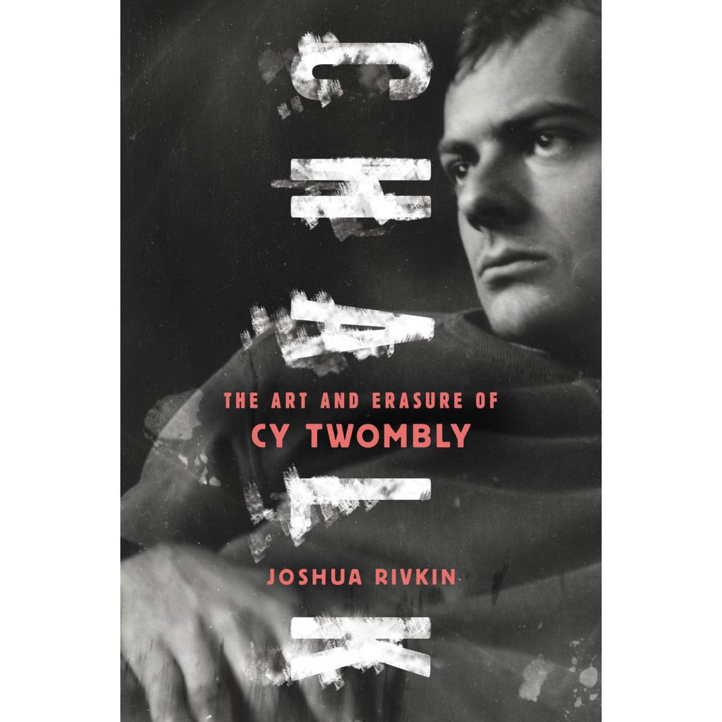 A book cover with a cover black and white blurred photo of artist CY Twombly.