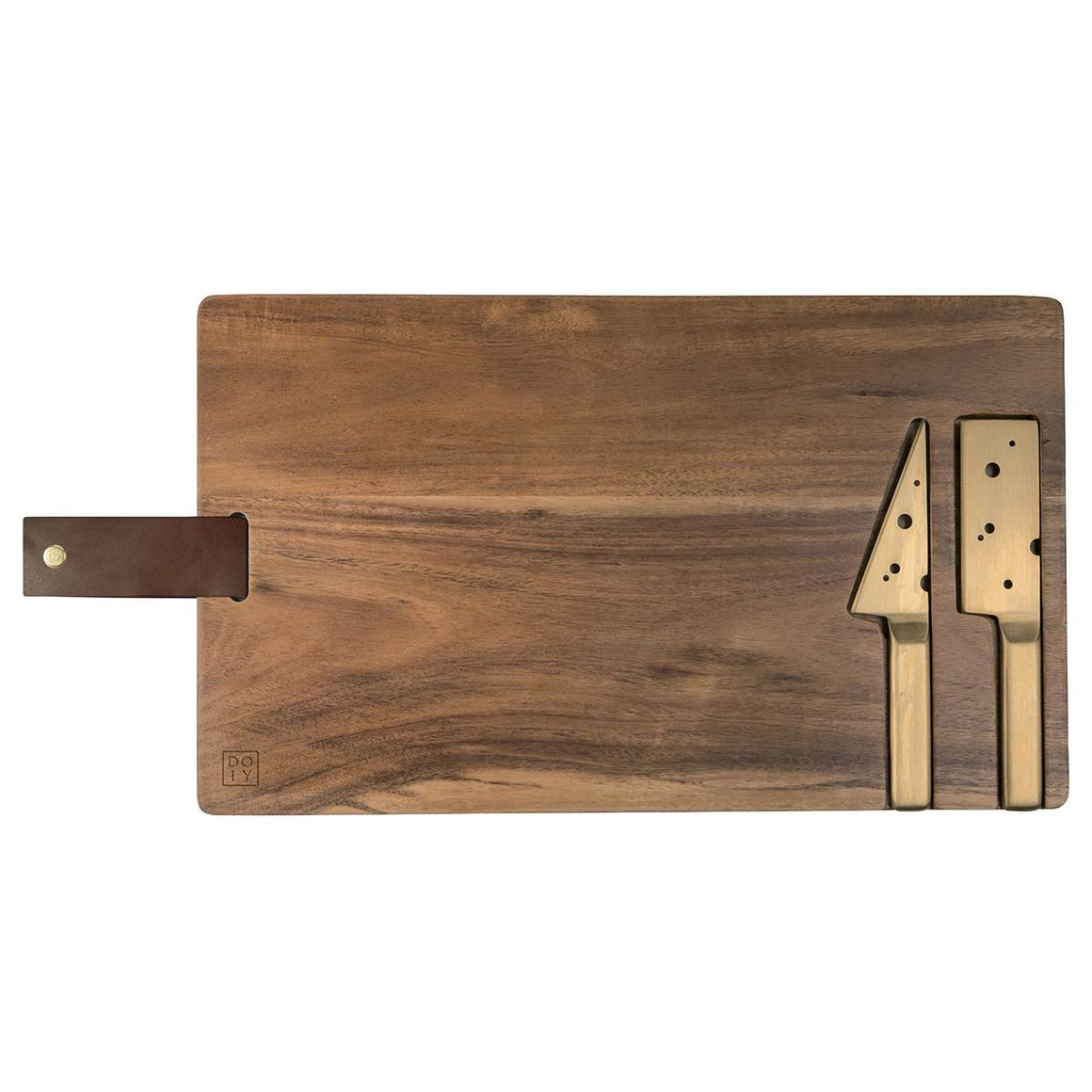 A rectangular Cheese serving board in a dark Acacia wood. Two gold tones knives are inset into recesses in the board. They are stylised and the blades contain holes mimicking a Jarlsberg holey cheese. There is a dark brown leather hanging strap attached.