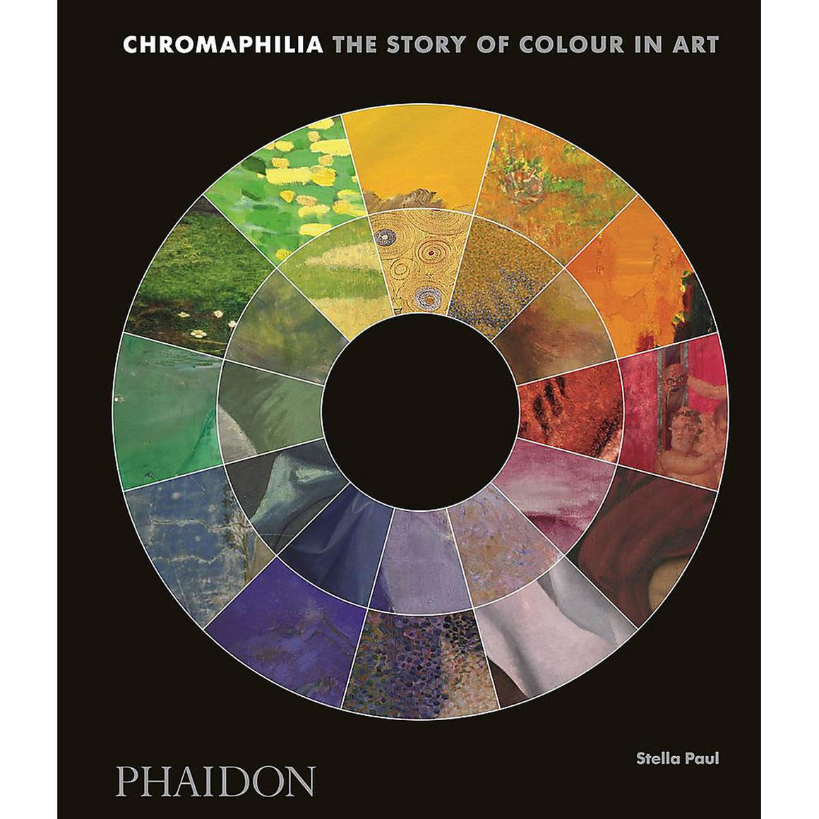 A black book cover featuring a traditional colour wheel. Each colour segment is made up of a detail of an artwork.