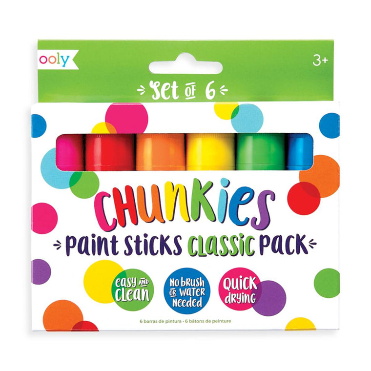 A set of six chunky paint marker shown in colourful packaging
