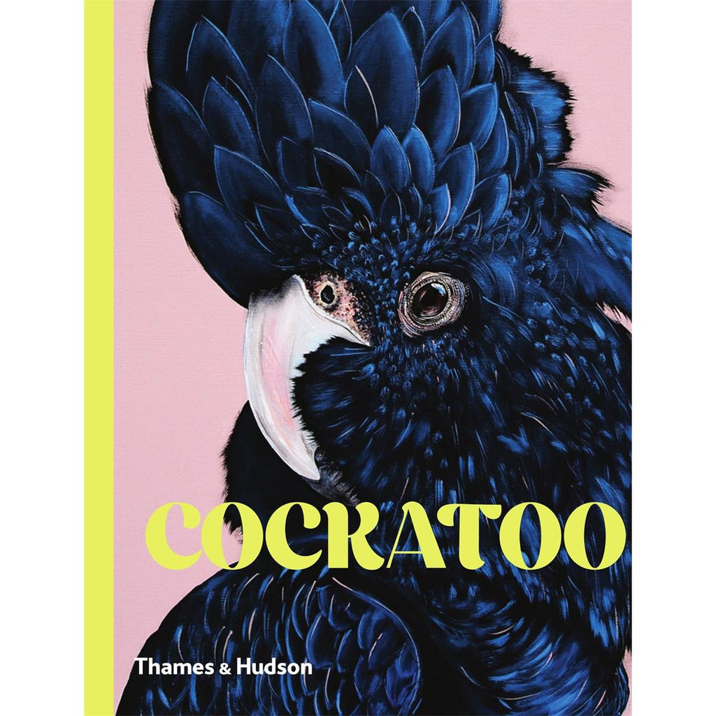 A book cover featuring an illustration of a Black Cockatoo showing the rich and decorative plumage, on a pink background,