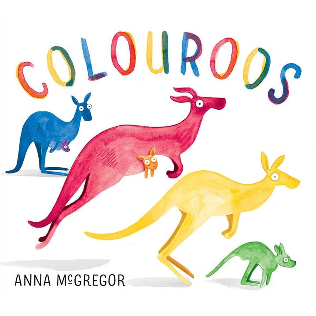 "A book cover for ""Colouroos"" featuring 4 kangaroos in blue, pink, yellow and green."