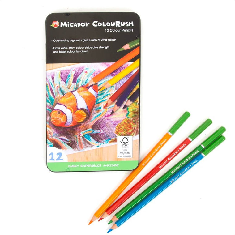 A tin set of 12 Coloured pencils. The tin displays a pencil drawing of a clownfish.