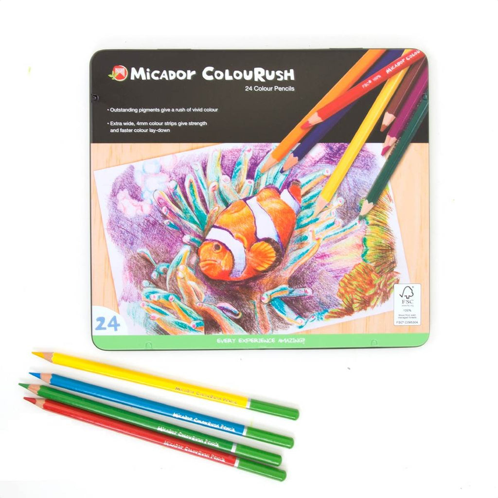 A tin set of 24 Coloured pencils. The tin displays a pencil drawing of a clownfish.