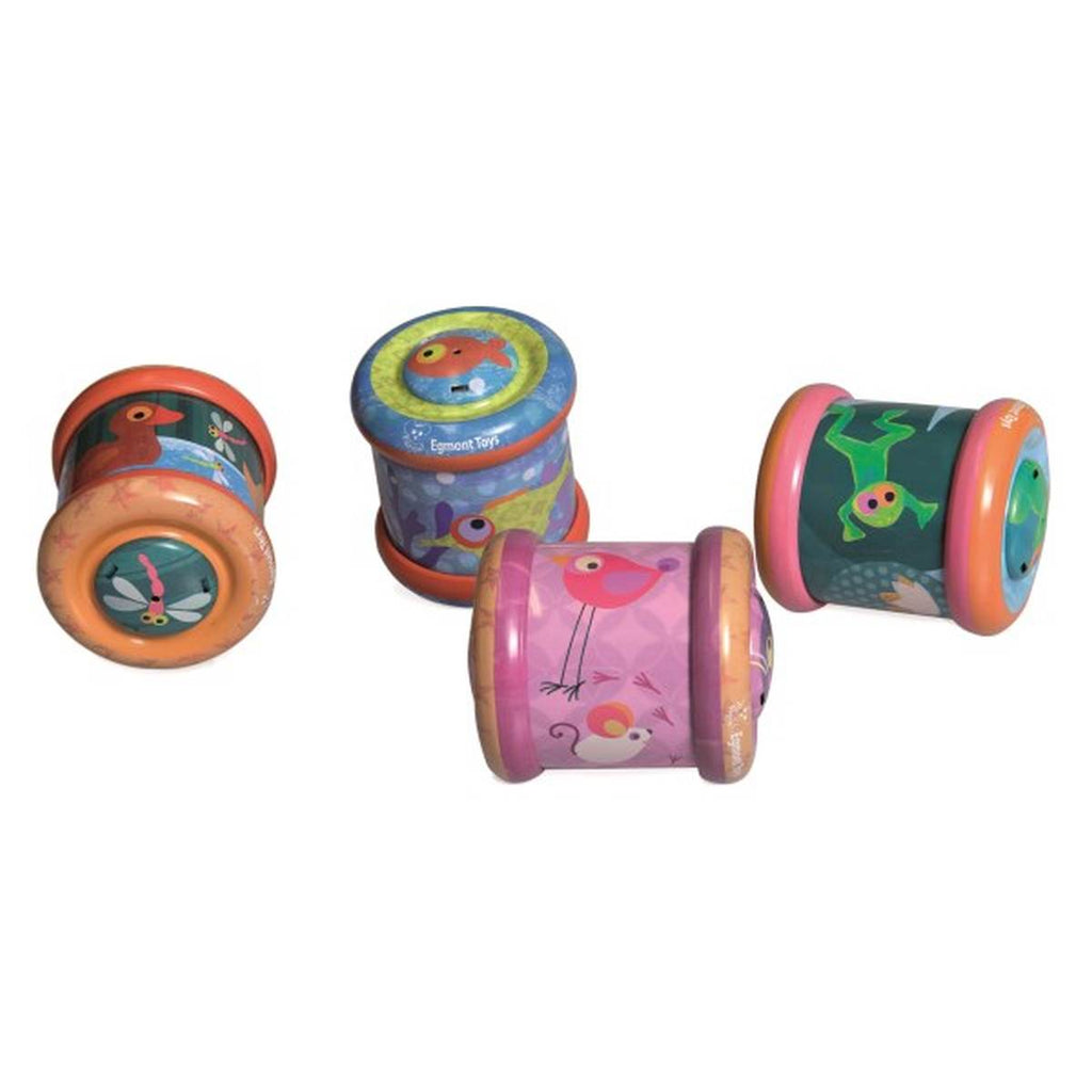 a group of 4 cylindrical tin toy baby rolling toys. Each one features multicoloured illustrations of cartoon animals