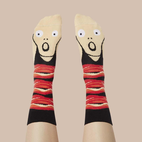 Socks Featuring an illustrated face of the painting The Scream
