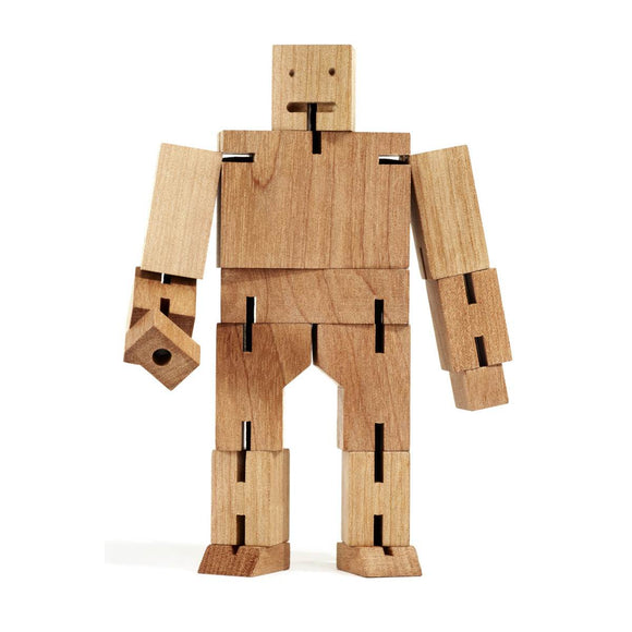 An animated gif of a wooden robot puzzle toy made of natural interconnected wood pieces. Shown in multiple poses including being folded into a cube shape.