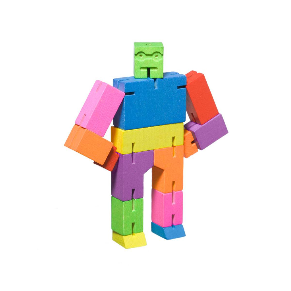 A wooden robot puzzle toy made of multicoloured interconnected wood pieces.
