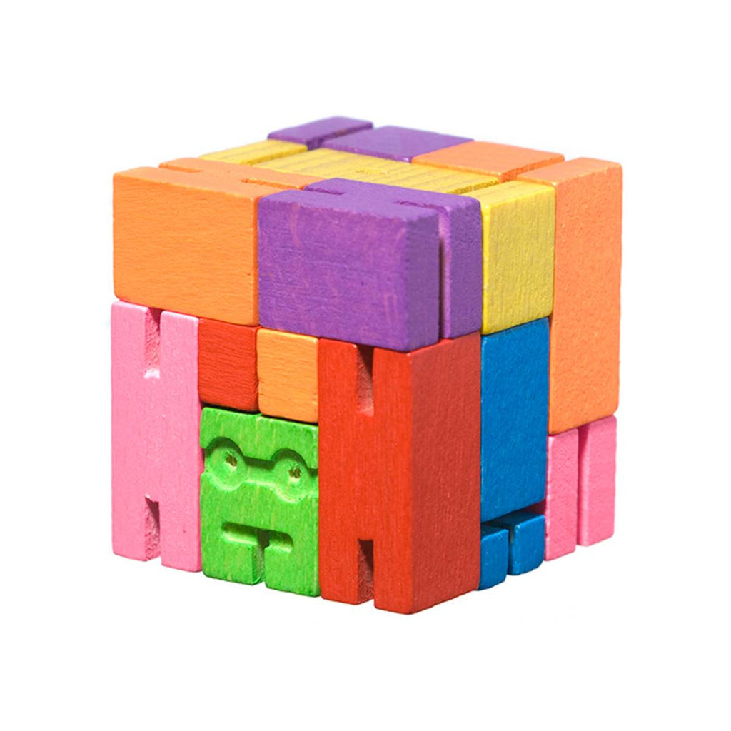 Cubebot | Wooden robot toy | micro | multicoloured