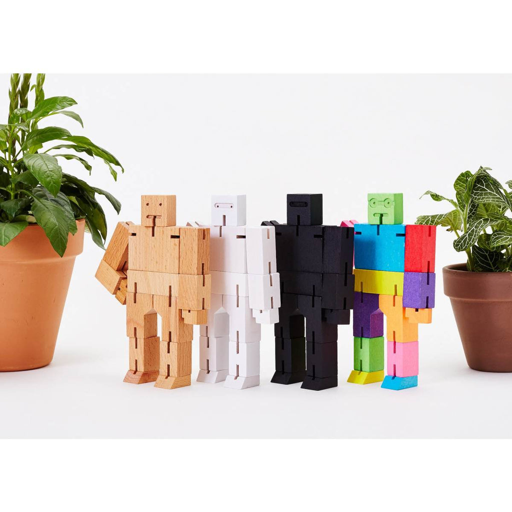 Cubebot | Wooden robot toy | medium | multicoloured