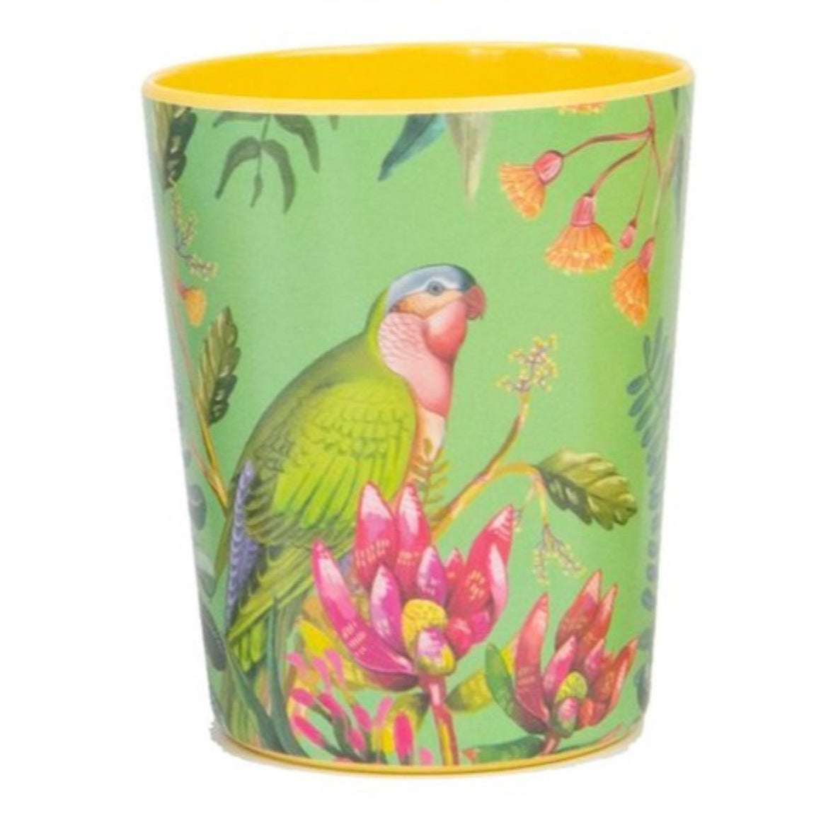 Enamel cup featuring an australian floral pattern with a princess parrot
