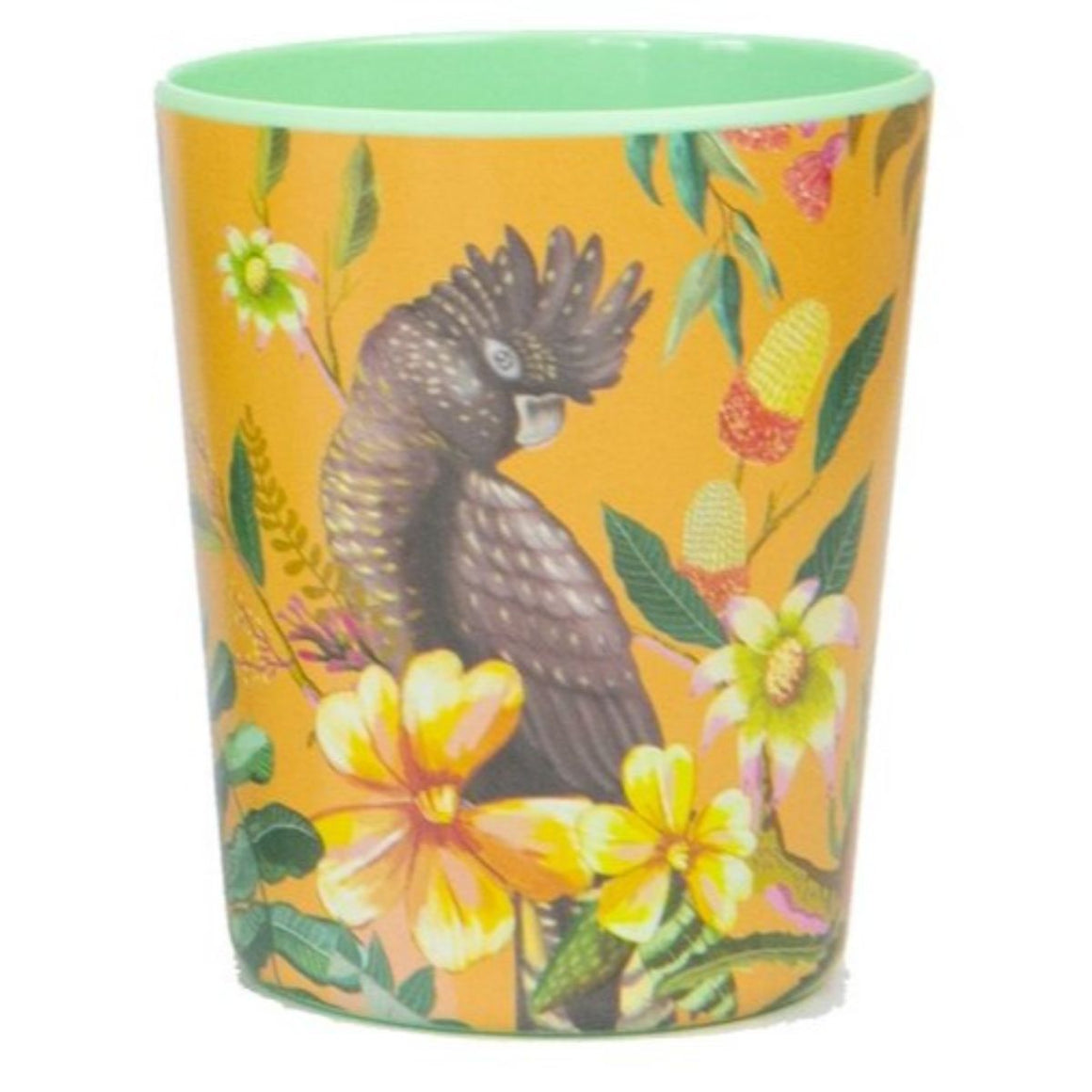 Cup featuring Australian florals and a black cockatoo