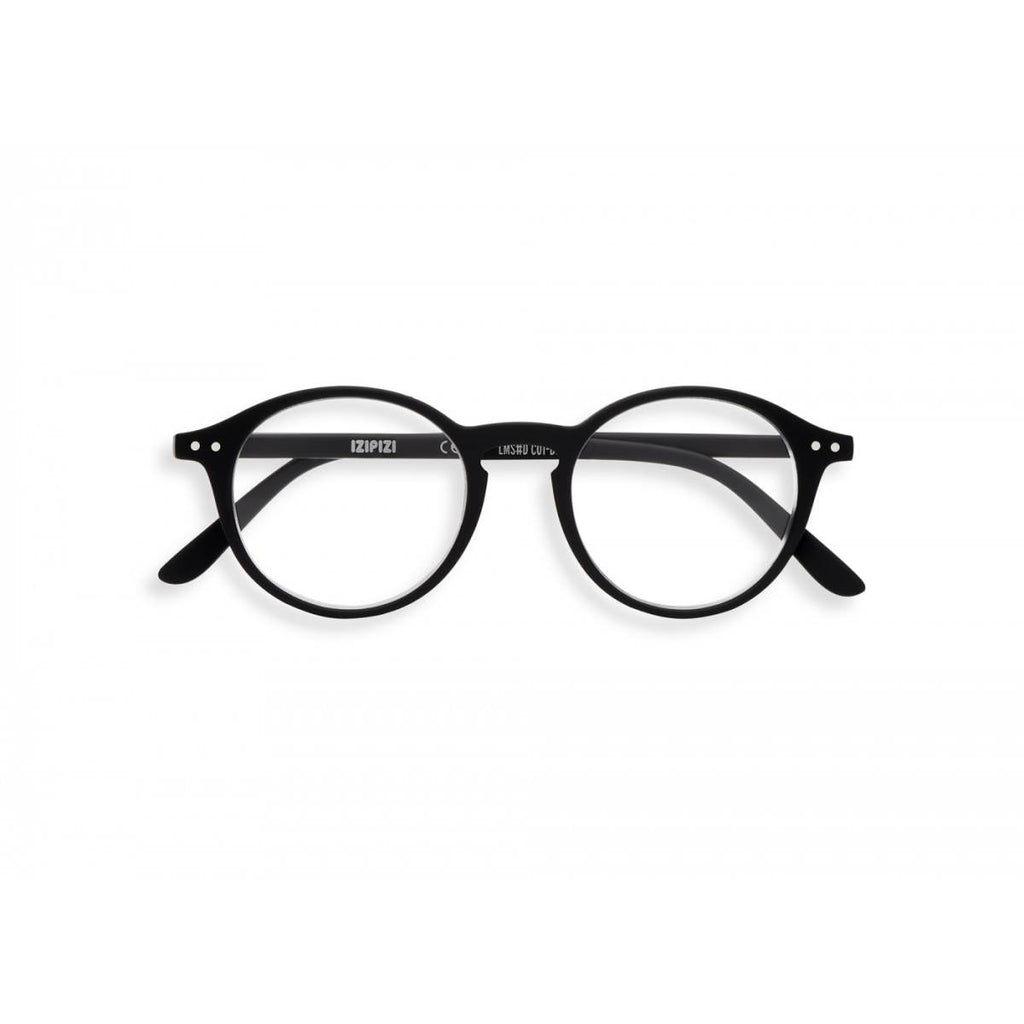 A pair of black magnifying reading glasses. The frames are an round, timeless, best-selling shape.