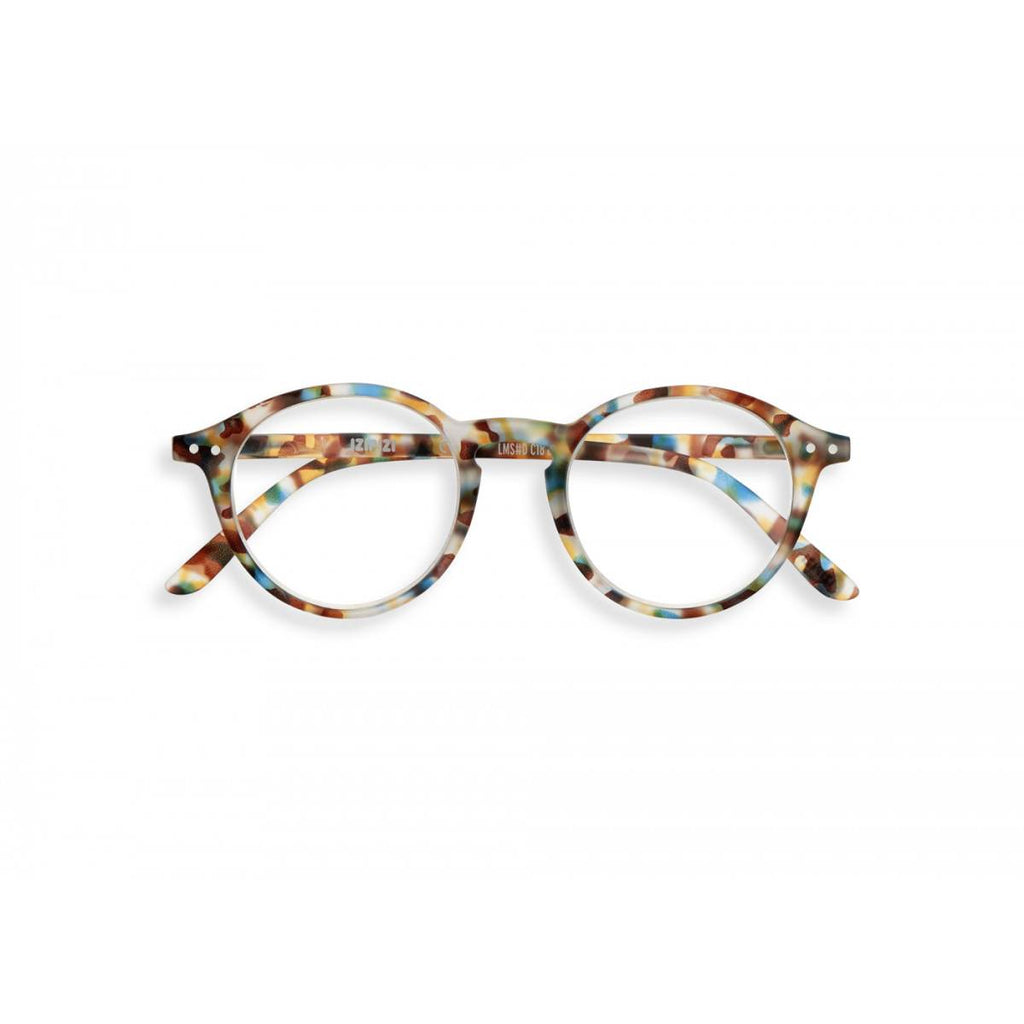 A pair of magnifying reading glasses. The frames are an round, timeless, best-selling shape in a mottled blue tortoise shell finish.