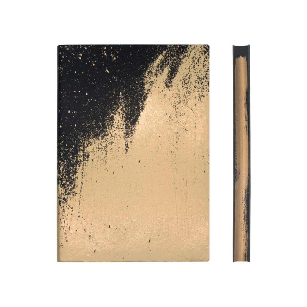 A notebook featuring a black cover and lustrous gold paintstroke effect on the cover. The edges of the pages are printed with a similar effect.