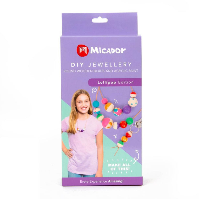 A box containing a DIY Painted Jewellery kit in Lollipop colours