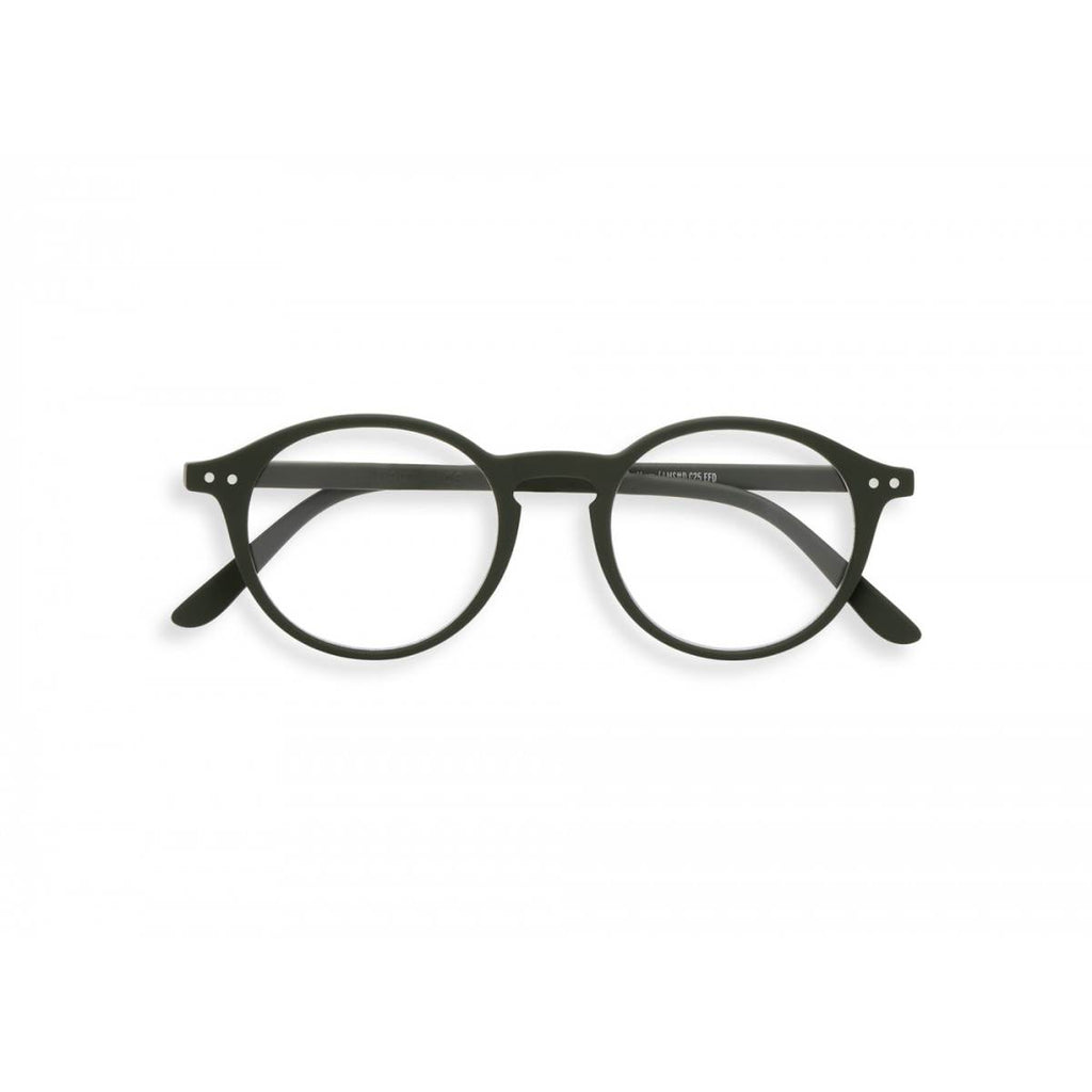 A pair of khaki green magnifying reading glasses. The frames are an round, timeless, best-selling shape.