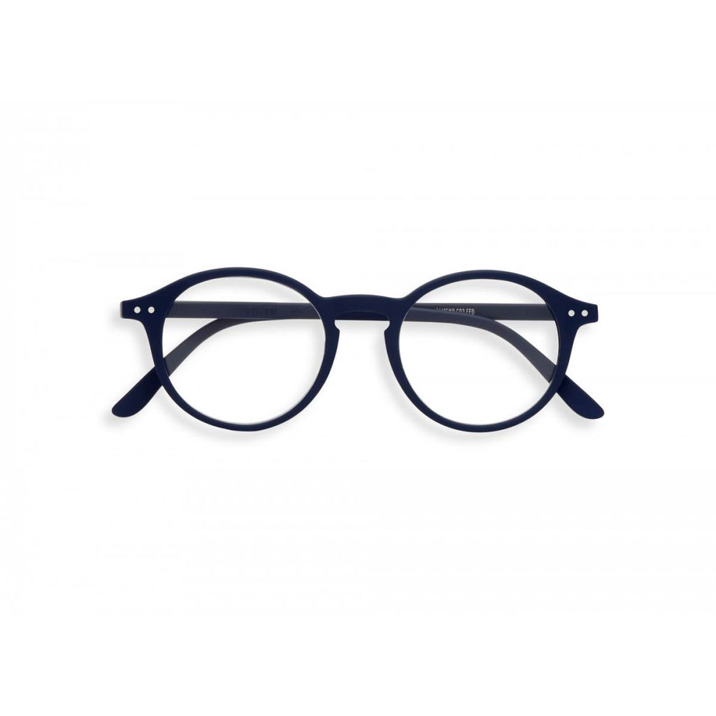A pair of navy blue magnifying reading glasses. The frames are an round, timeless, best-selling shape.