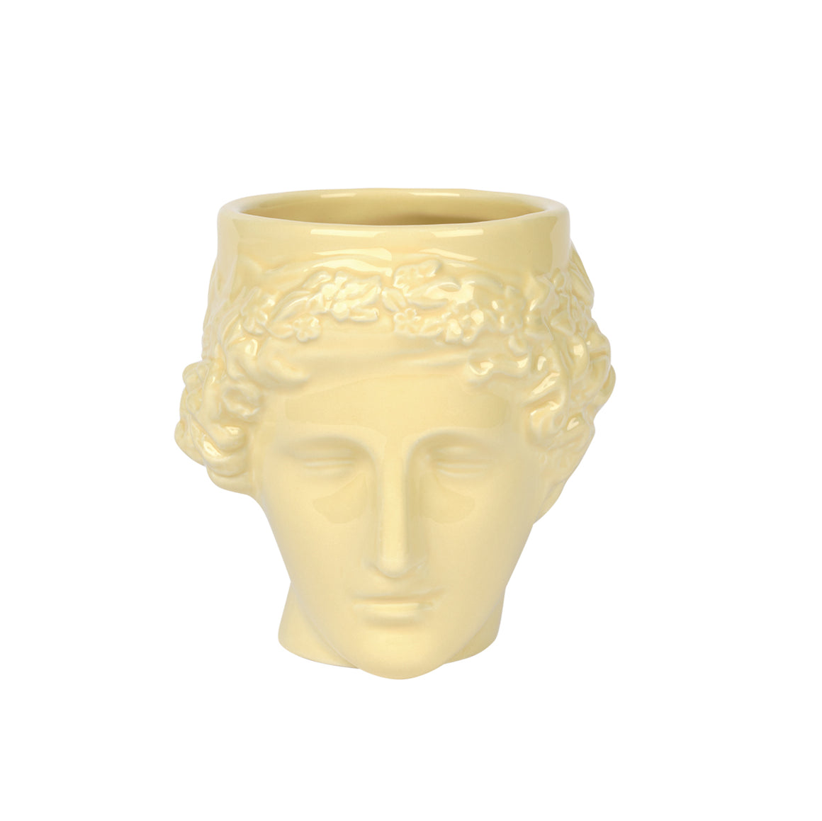 A ceramic mug in the shape of a sculptural portrait of Euphrosyne Goddess of Happiness in pastel yellow.