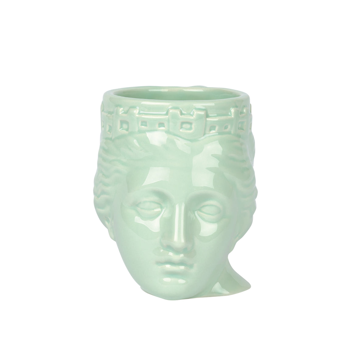 A ceramic mug in the shape of a sculptural portrait of Tyche Goddess of Luck in pastel green